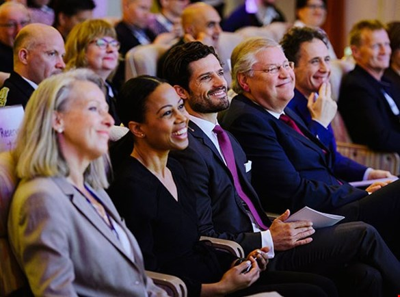 Picture of the audience. On front row HRH Prince Carl Philip, Minister for Culture and Democracy Alice Bah Kuhnke, the Director General of MTM Roland Esaiasson and author David Lagercrantz. Photo: Stefan Tell