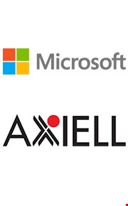 a collage showing the logotypes of Microsoft and Axiell