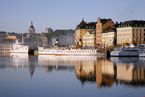 View of Stockholm harbour in the morning